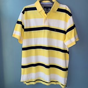 Tommy Hilfiger Polo Shirt White Navy Yellow